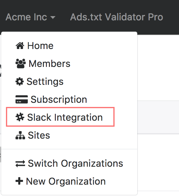 Slack integration nav item